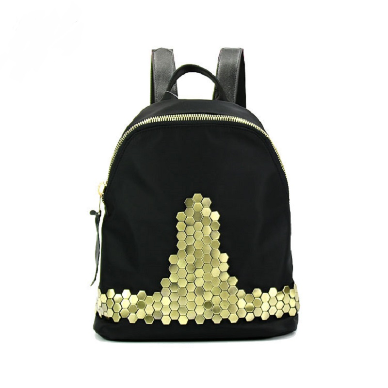 ФОТО Fashion Solid Black Rivet Sequins Backpacks DayPacks school Bags Leather Oxford Men Women Crossbody Bag bolsa feminina