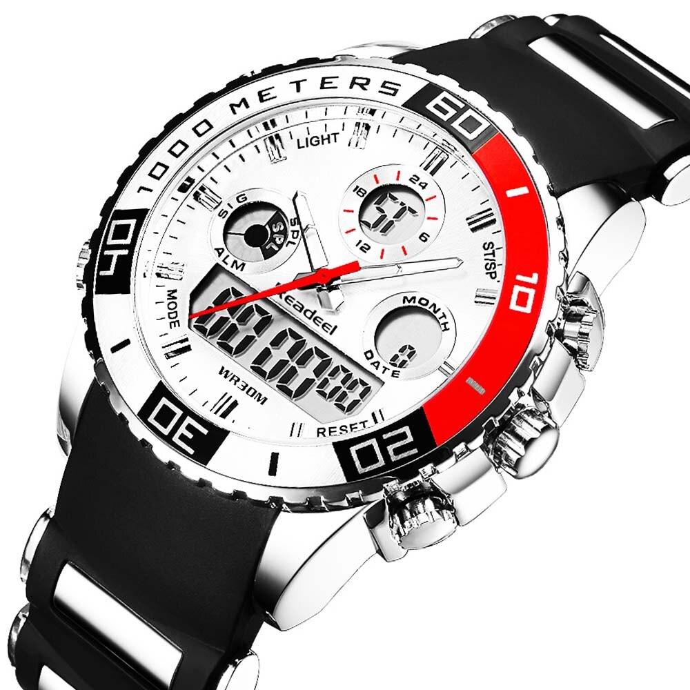Sport Watches Military-Watch Rubber Quartz Fashion Mens Luxury Brand Analog-Clock LED