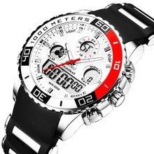ファッションの高級ブランド男性スポーツ腕時計メンズミリタリークォーツラバー LED アナログ時計男防水時計リロイ hombre 2019
