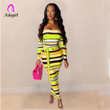 Colorful Elegant Women Sheer Stripe Dress Off Shoulder Casual Long Sleeve Bodycon Autumn Maxi Club Party Dress Bow Tie Vestidos pink stripe pattern one shoulder self tie dress