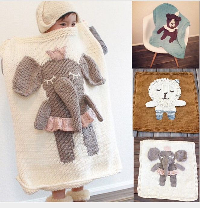 Cute Animal Knitted Plaid Baby Blanket For Bed Sofa Cobertores Mantas BedSpread Handmade Crochet Kids Swaddling Bath Towels comfortable knitted square plaid floral hollowed sofa blanket