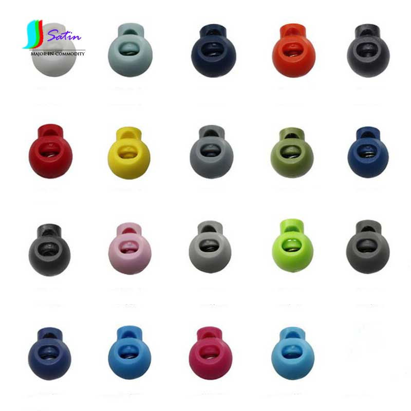 100pcs Colorful Ball Cord Lock Ends Stop Round Toggle Clip Stopper Cloth Sportwear Boots Lace Accessories S0628H thumbnail