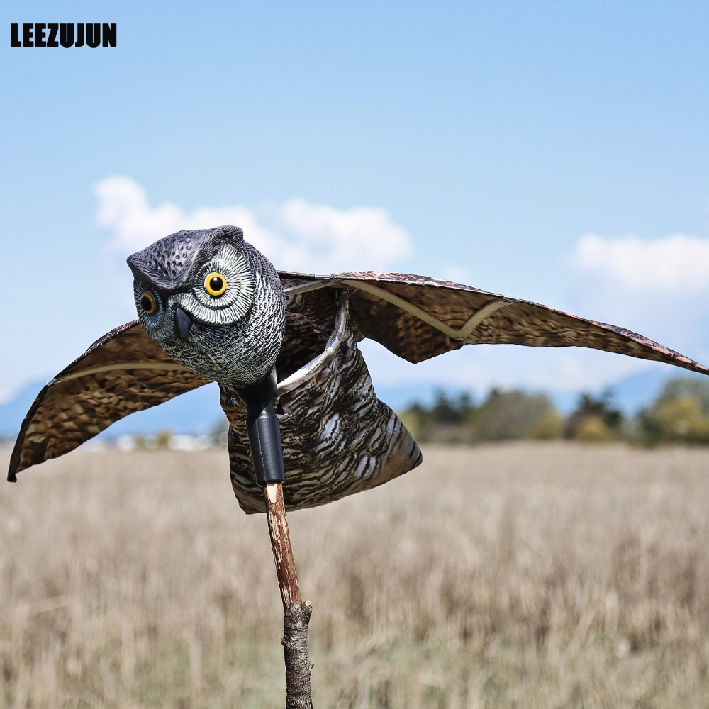 Pengendali kawalan burung Prowler Owl Decoy dengan Moving Wings Realistic Bird Scare-Scare Birds, Rodents, Harms, Scarecrow