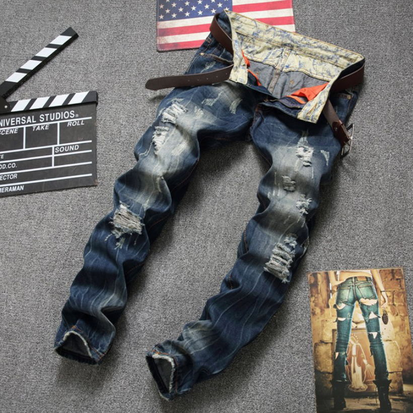 2017 Chinese Fashion Mens Hole Jeans slim wild straight washed denim trousers luxury brand original zipper ripped jeans for men 2017 fashion patch jeans men slim straight denim jeans ripped trousers new famous brand biker jeans logo mens zipper jeans 604