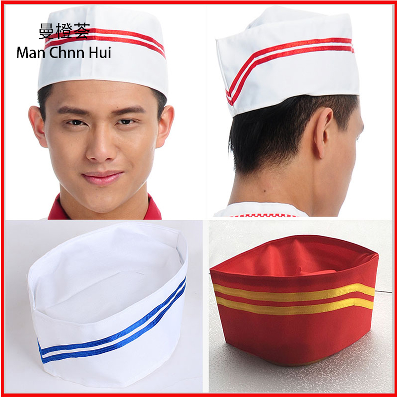 5 Piece Chef Hats Male Chef Baker Boat Cap Waitress Food Service Kitchen Cloth Cap 100% Polyester Cotton Restaurant Work Cap