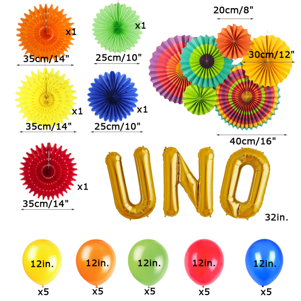 14pcs Colorful UNO Theme Mexican Fiesta Party Decoration Kit Paper Fans Pinwheels Gold Foil Mylar Balloons Baby First Birthday in Party DIY Decorations from Home Garden