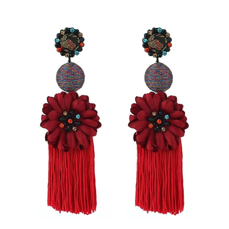 Ethnic Long Tassel Earrings Retro Handmade Silk Thread Crystal Flower Dangle Ear