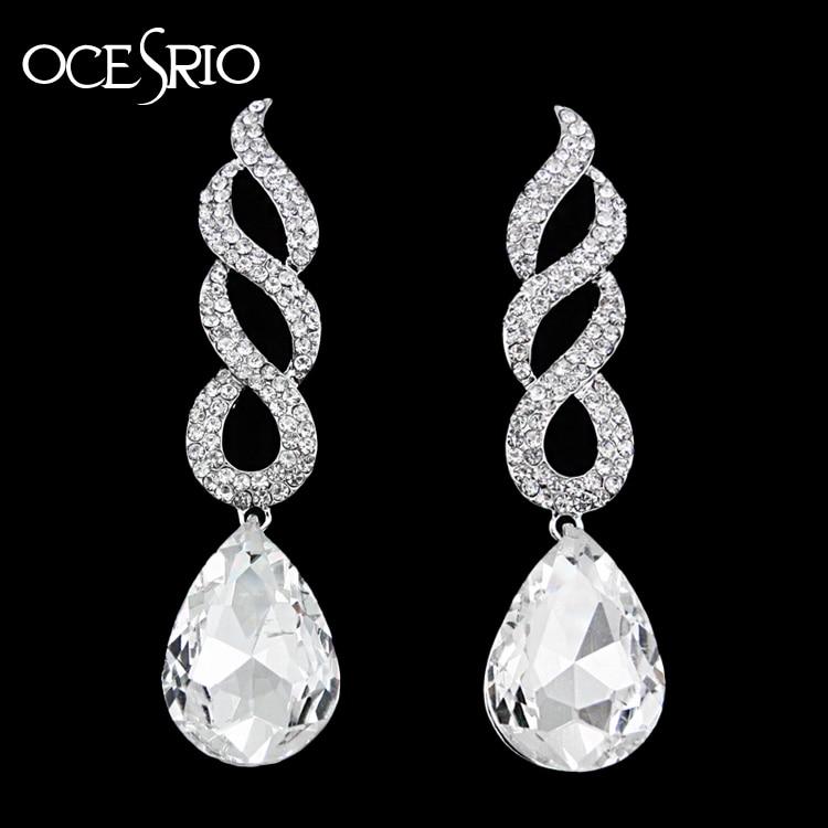 OCESRIO Large Silver Long Earrings for Women Luxury Tear