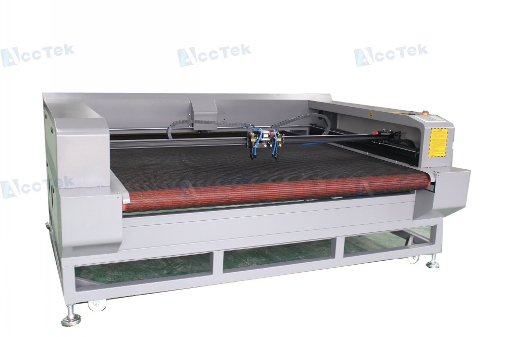 Double Heads Laser Cutting Machine for cloth/fabric/textile/leather/rubber/paper with auto feeding