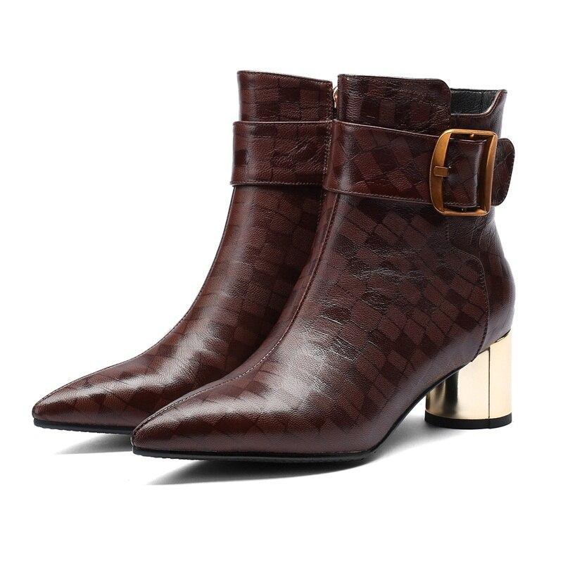 Femmes Bout D'équitation Chaussures Bottes Pointu Mode Boucle Femme Cuir Hiver Automne Métal Cheville Black En Facndinll Sexy brown vwqxg6p