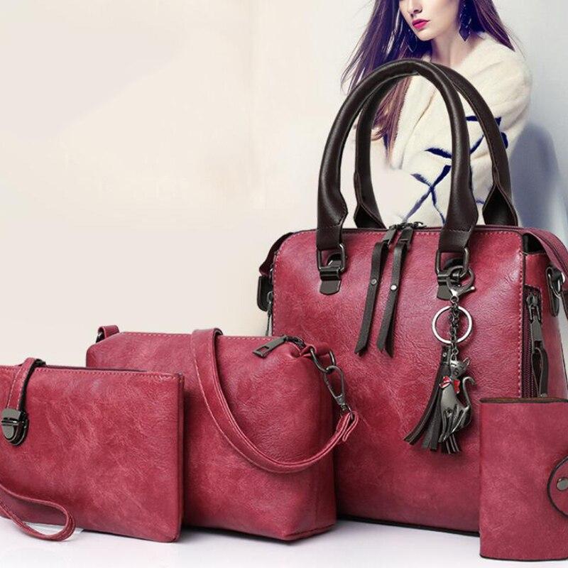 Women's Bags PU Leather Bag Set 4 Pieces Purse Set