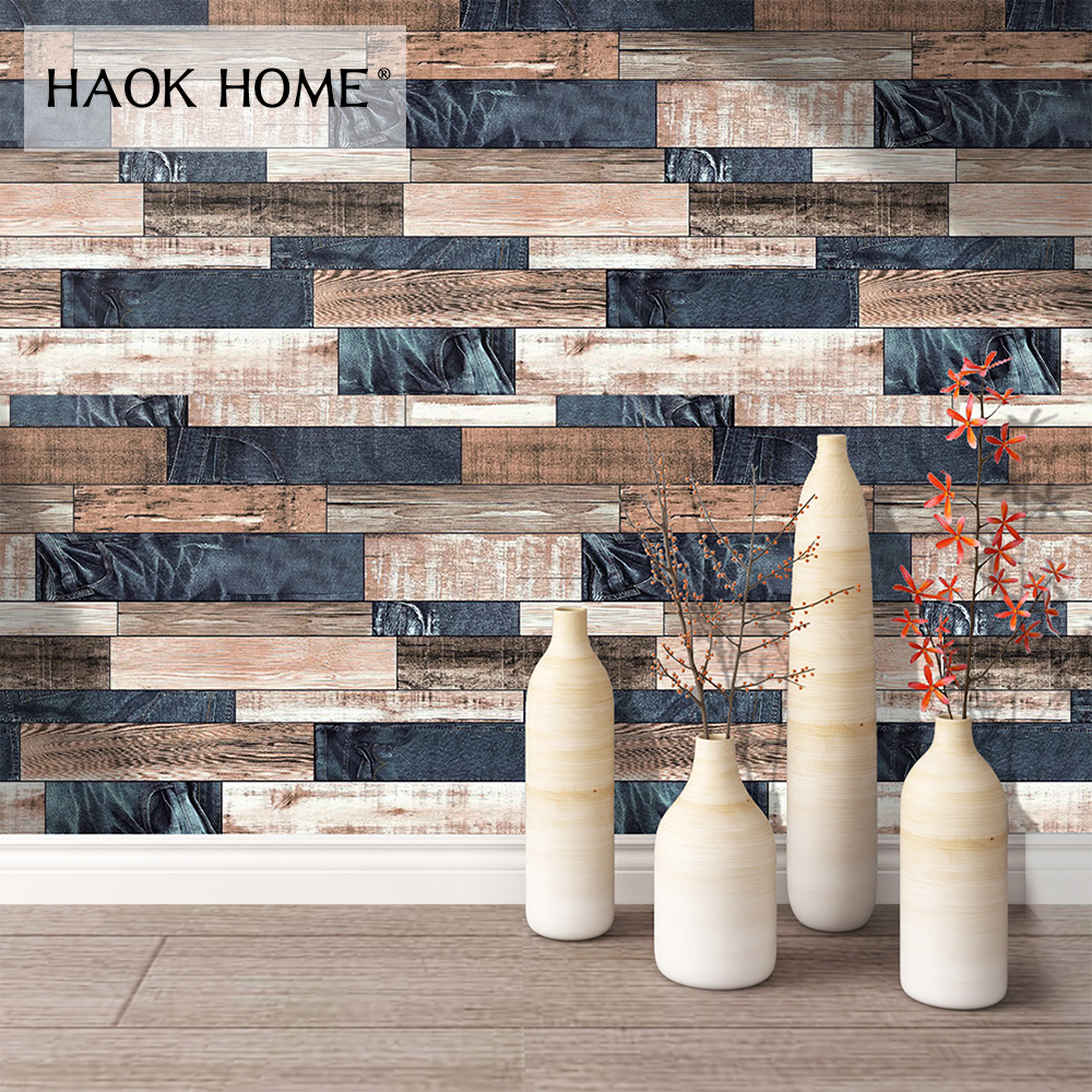 HaokHome Wood Wallpaper for walls 3D Blue Brown Vinyl Contact Paper Home Kitchen Bedroom Living room