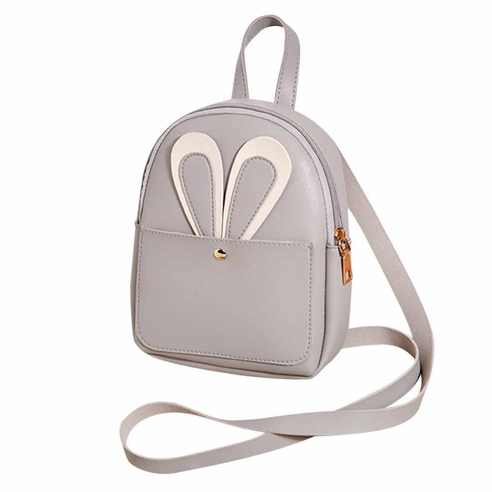 083e52480585 ... OCANDIAN Shoulder Bag Leather School Bag Pure Color Satchel Travel Bag  Cut Rabbit Ear Bags For ...