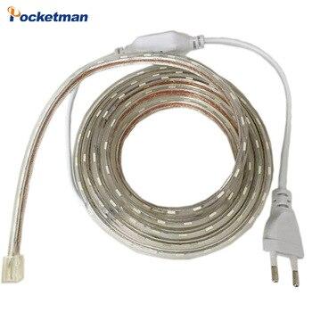 Горячие Продажи Водонепроницаемый LED strip 5050 220 В гибкий свет 60led/м, RGB, белый, Теплый белый, Синий, Зеленый, Красный, + Power Plug, Бесплатная доставка