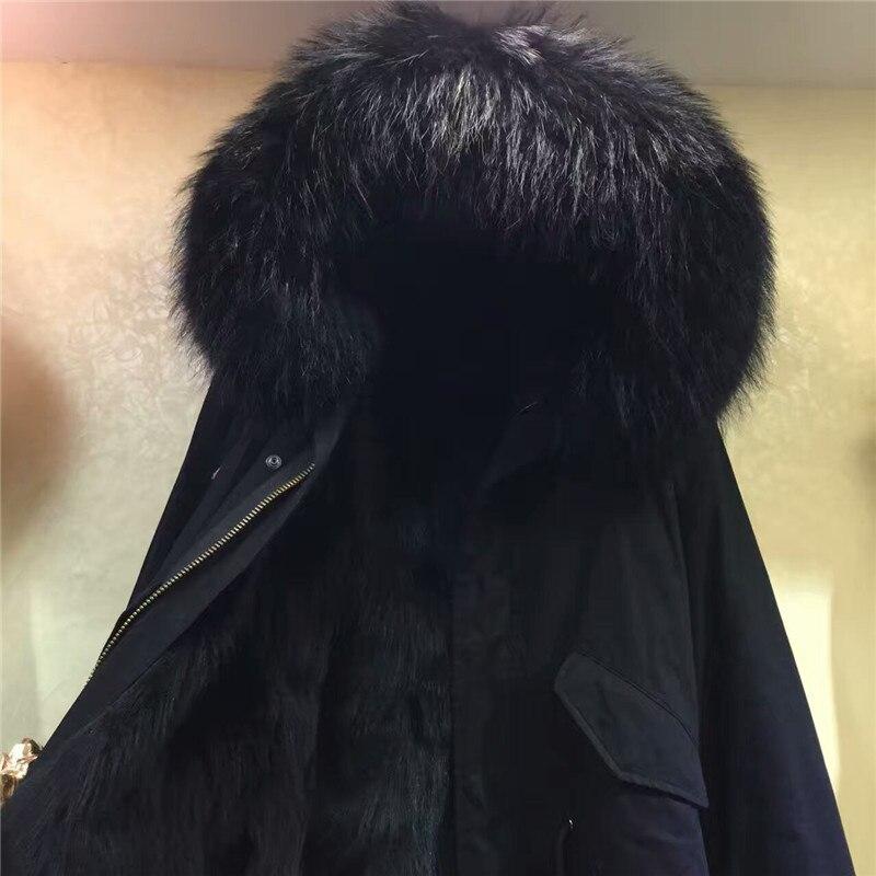 De Veste Parka Noir Hiver M Mme À Longue Court Pur style Fourrure Manteau Réel Fox Capuchon Manteaux wvqTxXx