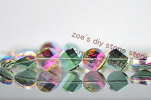38Pcs Pack 14MM Twisted Round Flat Shape Glass Crystal Lampwork Loose Bead Jewelry Beads