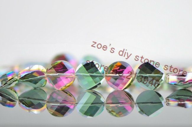 38Pcs Pack 14MM Twisted Round Flat Shape Glass font b Crystal b font Lampwork Loose Bead