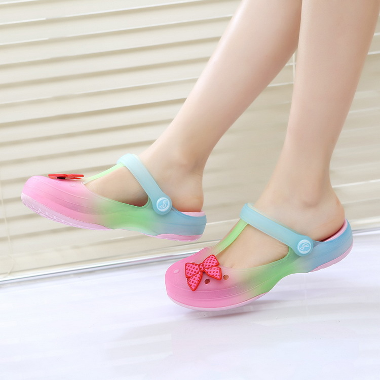 2017 New Trend Girls Sandals for Summer Gradient Colors Children Antiskid Sandal Princess Kids Plain Bow Shoes 4 Designs, HJ056