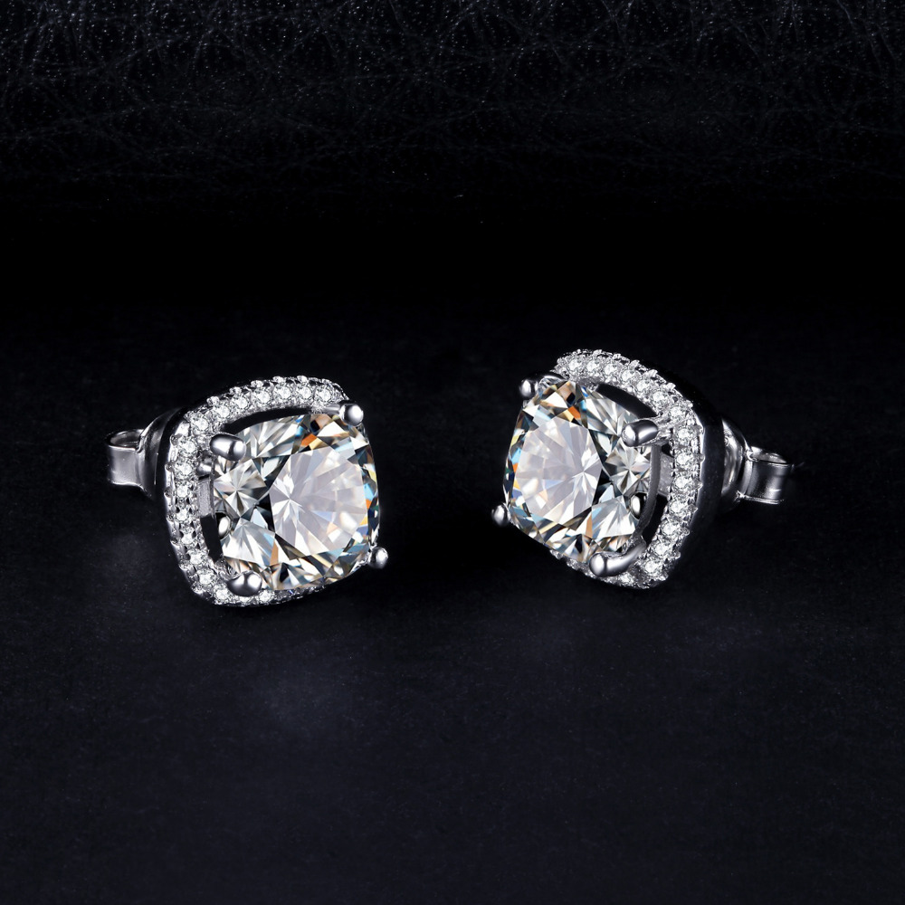 JewelryPalace Cushion 5ct Cubic Zirconia Halo Stud Earrings 925 Sterling Silver VJUZzpNf