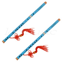 2Set Blue Paint Traditional Chinese Bamboo Flute Dizi Pluggable F Key Musical Instrument