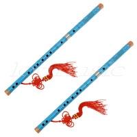 2Set Blue Paint Traditional Chinese Bamboo Flute Dizi Pluggable F Key Musical Instrument