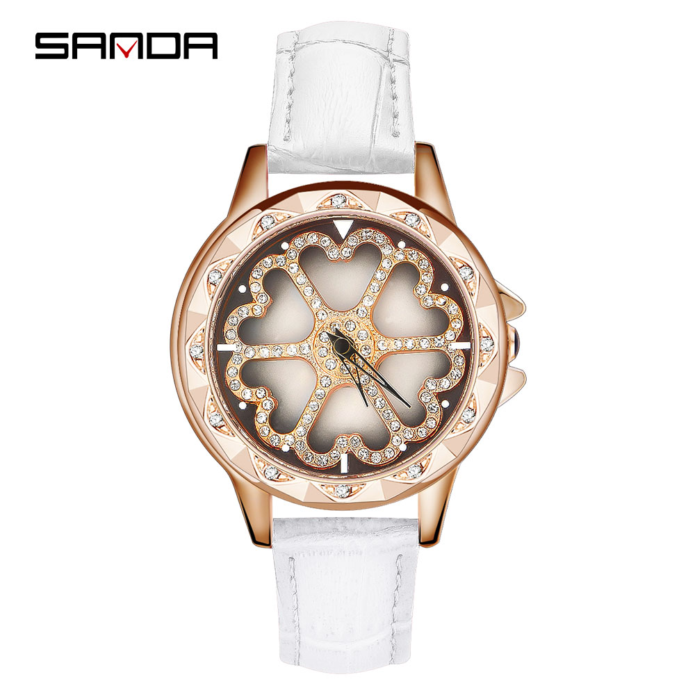 SANDA Fashion Diamond Ladies Watch Women Leather Strap Watches Top Brand Luxury Waterproof Rotate Womens Gift relogio femininoSANDA Fashion Diamond Ladies Watch Women Leather Strap Watches Top Brand Luxury Waterproof Rotate Womens Gift relogio feminino