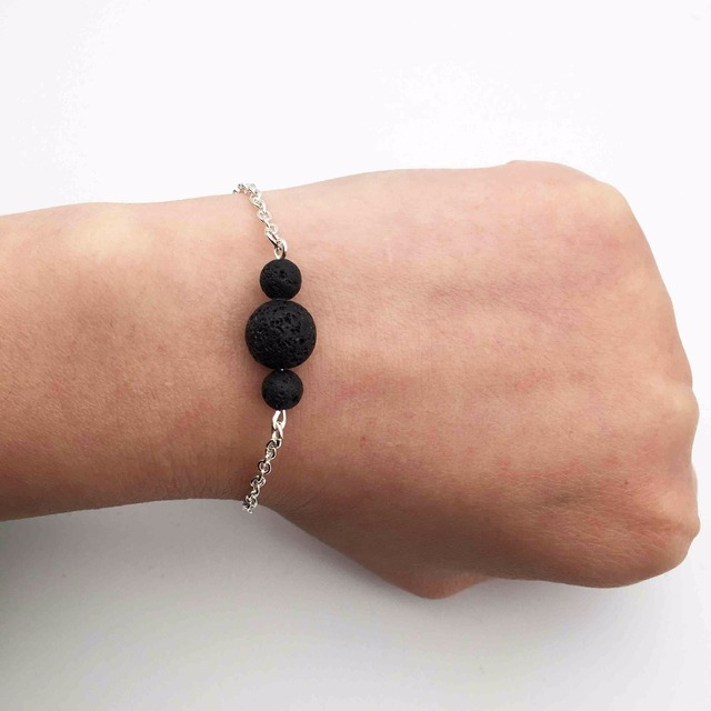 10pcs 3 Black Lava Stone Bracelets Bangles Essential Oil Diffuser