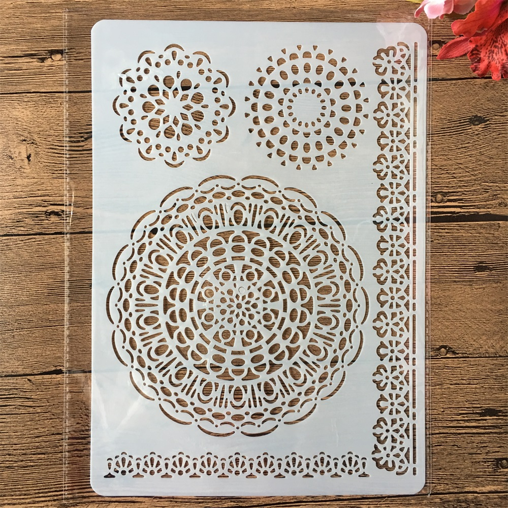 A4 Circle Round Floral Edge DIY Craft Layering Stencils Painting Scrapbooking Stamping Embossing Album Paper Card Template