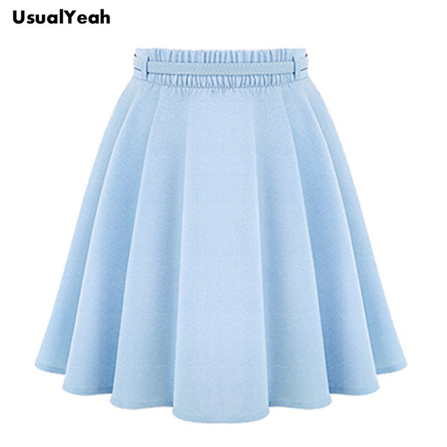 2017 A Line Flare Pleated Fashion Street Style Women Solid Black Plain Casual Vintage Midi Skirt with Belt blue black plus size
