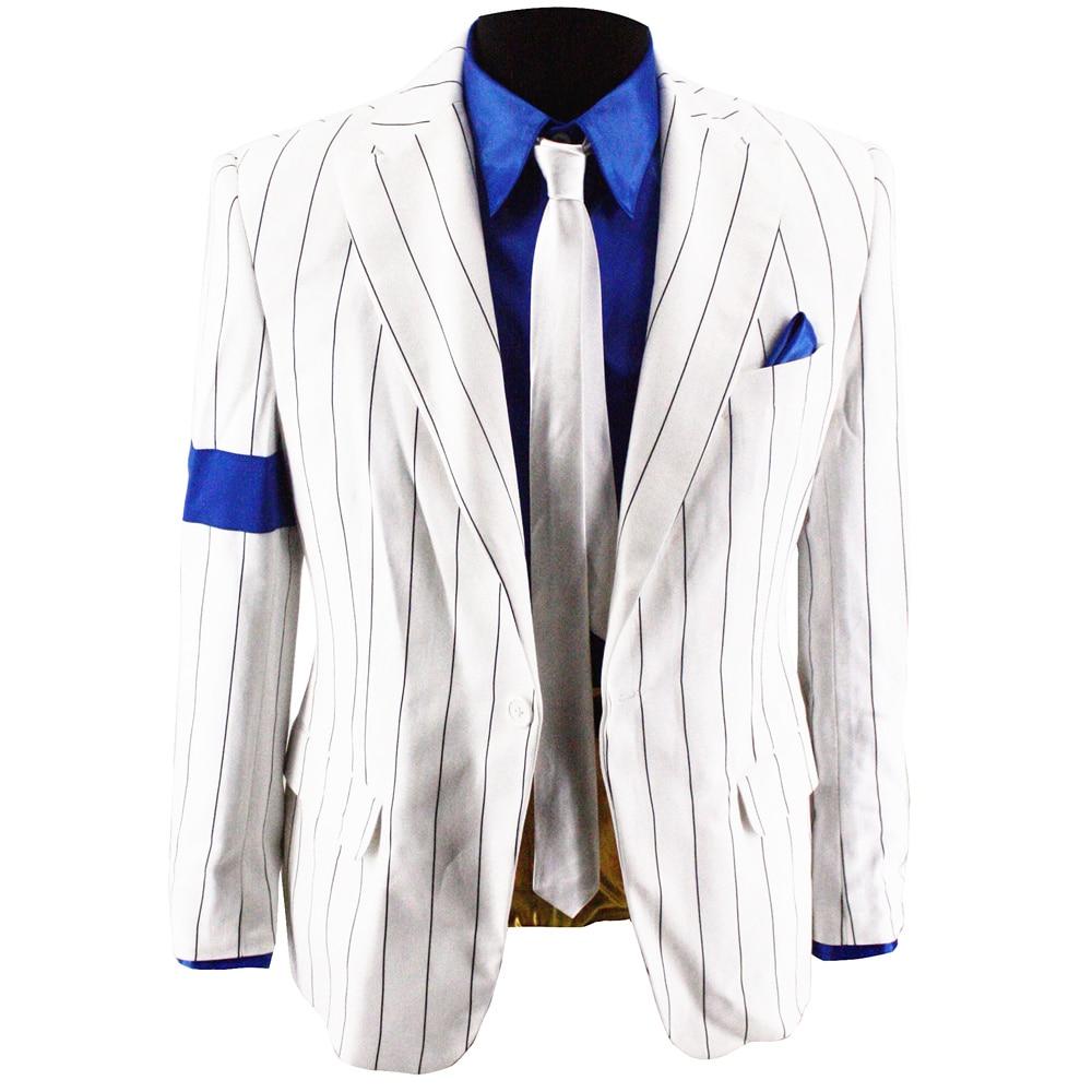 Retro MJ Michael Jackson Smooth Criminal Vocal Concert History Stripe Outfit Suits