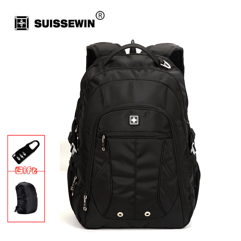 Suisswin Classic Business Backpack For Travel Commuter Double Shoulder Bag for Laptop and Documents Mochila Male havresac SN8110 lowepro protactic 450 aw backpack rain professional slr for two cameras bag shoulder camera bag dslr 15 inch laptop