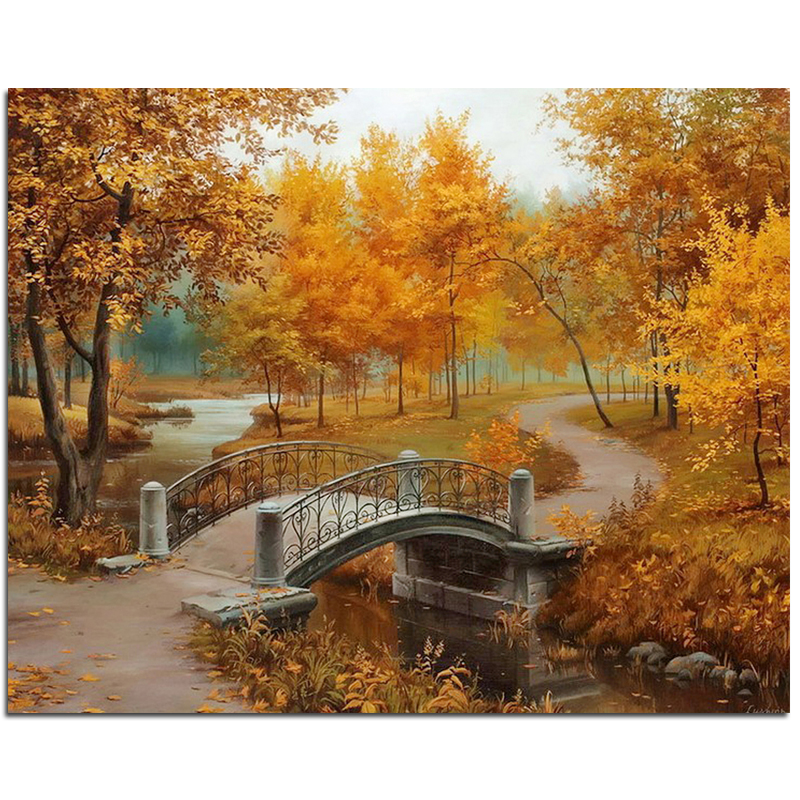 baru lengkap Diy kit lukisan berlian 3D cross stitch Square Diamond sulaman Autumn Scenic Brudge Diamond Mosaic Crafts ZX