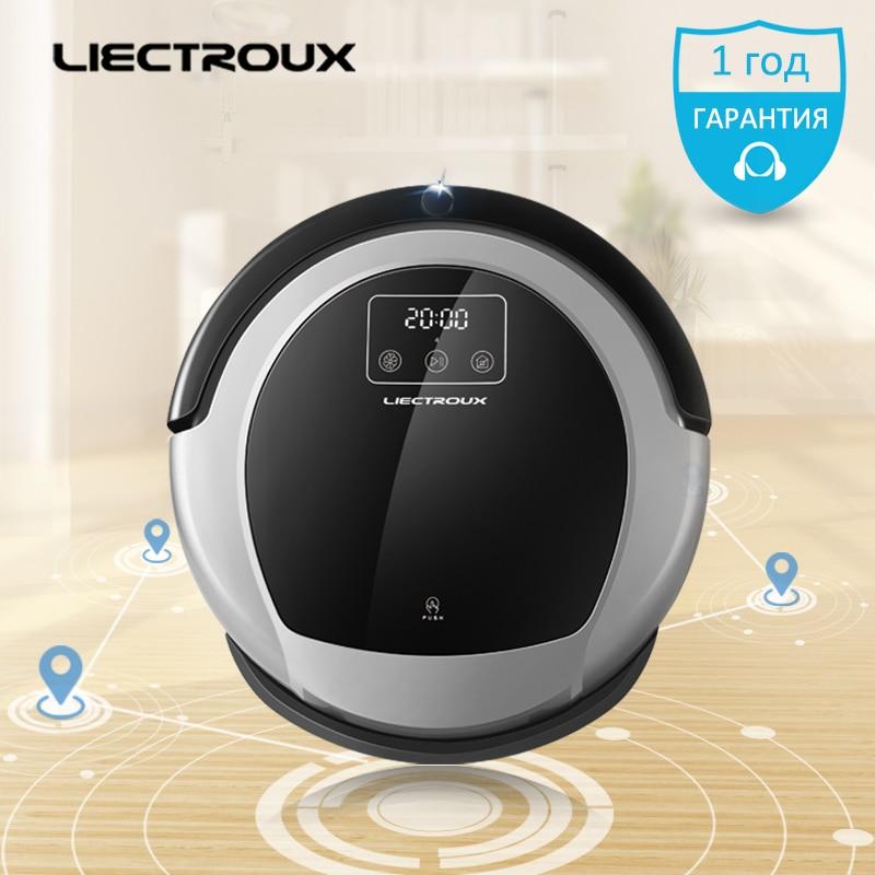 LIECTROUX Robot Vacuum Cleaner B6009 home water tank Map&Gyroscope Navigation mop floor Memory brush Virtual Blocker UV pet Lion