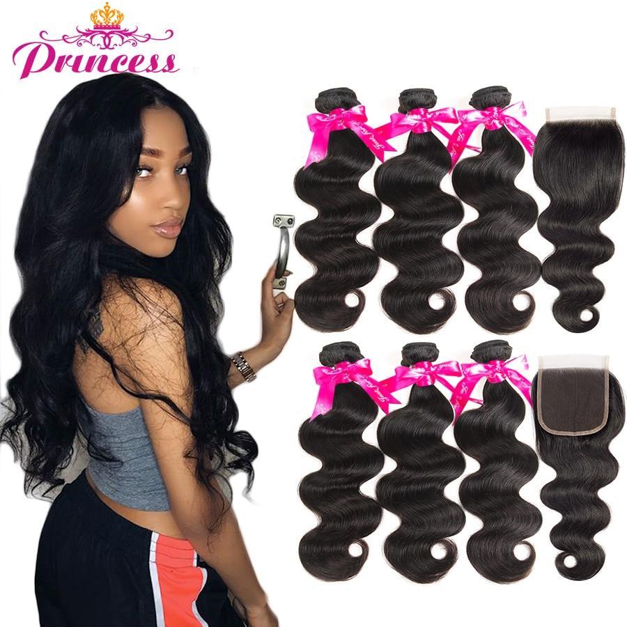 HTB1kkjyMMHqK1RjSZFPq6AwapXaD Beautiful Princess Hair 3 Bundles Peruvian Body Wave With Lace Closure Double Weft Remy Human Hair Bundles With Closure