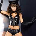 Sexy Black faux leather 2 pcs lace up Lingerie Set Obsessive Pussycat Costume For Women Cat ear head wear glovers are included