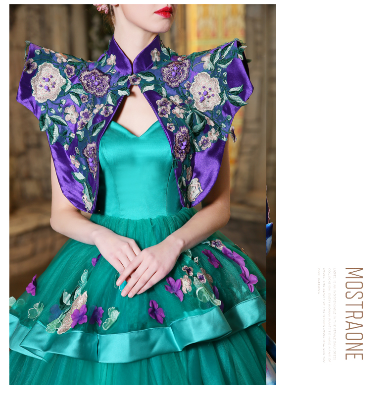 100%real luxury ruflled embroidery queen trailing court medieval dress with jacket princess queen cosplay gown ball