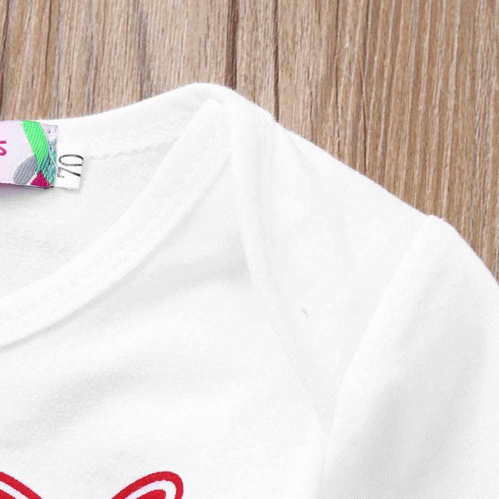 יילוד תינוק ילד ילדה בגדי חג המולד מכתב הדפסת Romper + מכנסיים + כובע סט בגדים פעוט חג המולד תלבושות ילדים