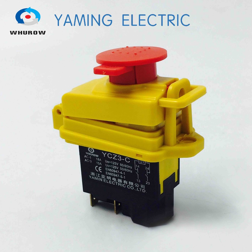 Ignition Momentary Press Push Button Switch Protective cover YCZ3-C Emergency stop & start 5 Pin On Off Red sign 10A 125V