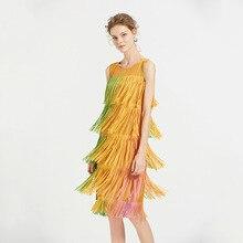 Summer Dress Plus Size Woman 2019 New Fashion Print Tassel Round Neck Sleeveless Stretch Miyake Pleats Casual Dress Knee Length