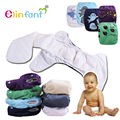 Elinfant winter cartoon minky AIO AI2 night cloth diaper waterproof adjustable furry super soft one size fit all#SMT043#