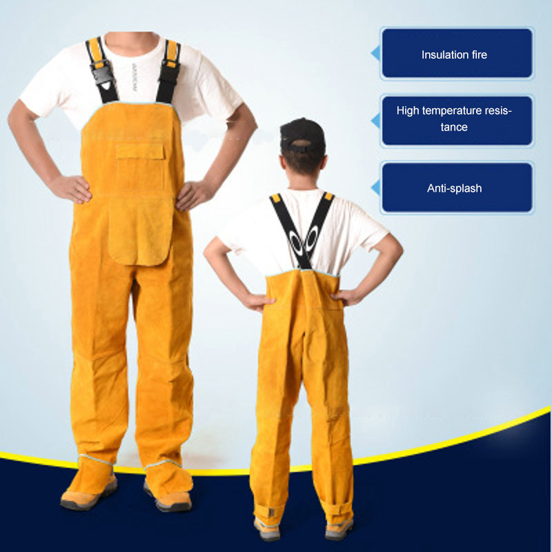 Cowhide Welding Overalls Labor Protection Clothing Set Leather Pants Welding Flame Retardant Clothing Splash Prevention