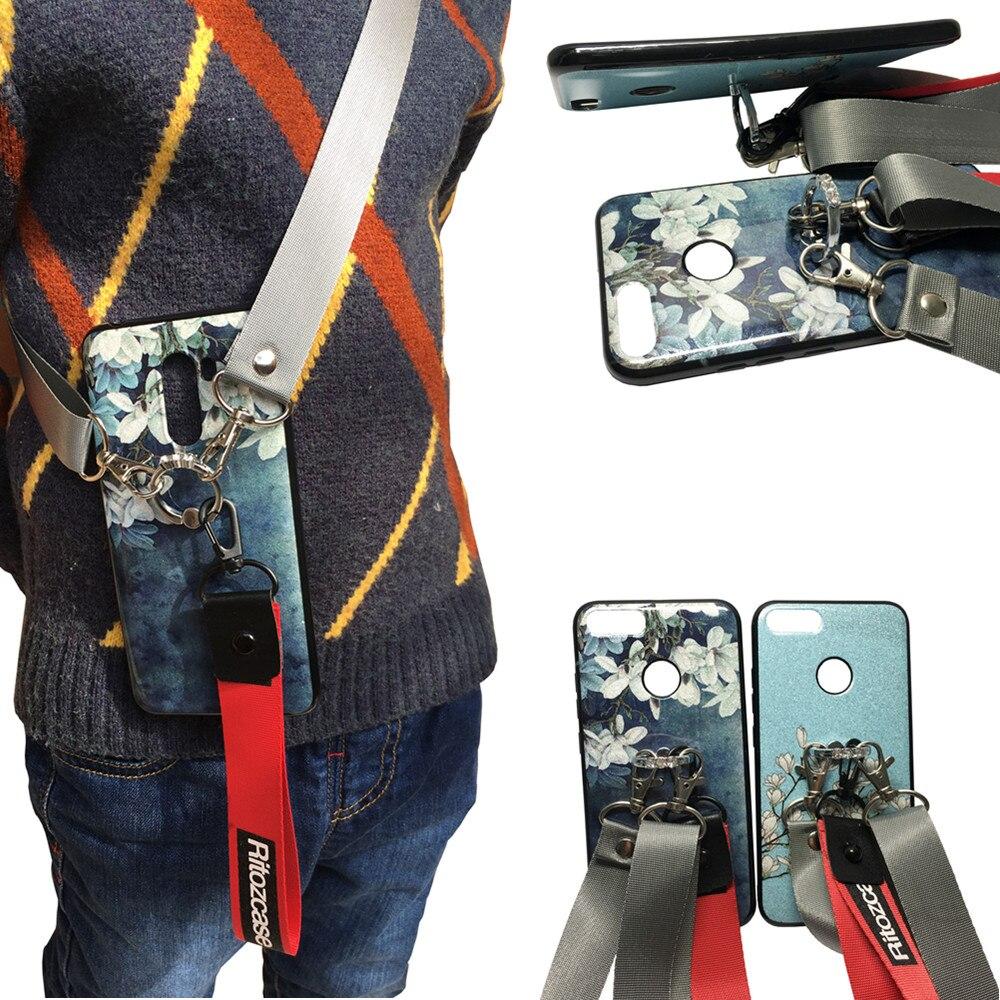 case for huawei honor 9 lite case cover luxury bling diamond ring holder glitter flower shoulder strap tpu+pc phone bag capa