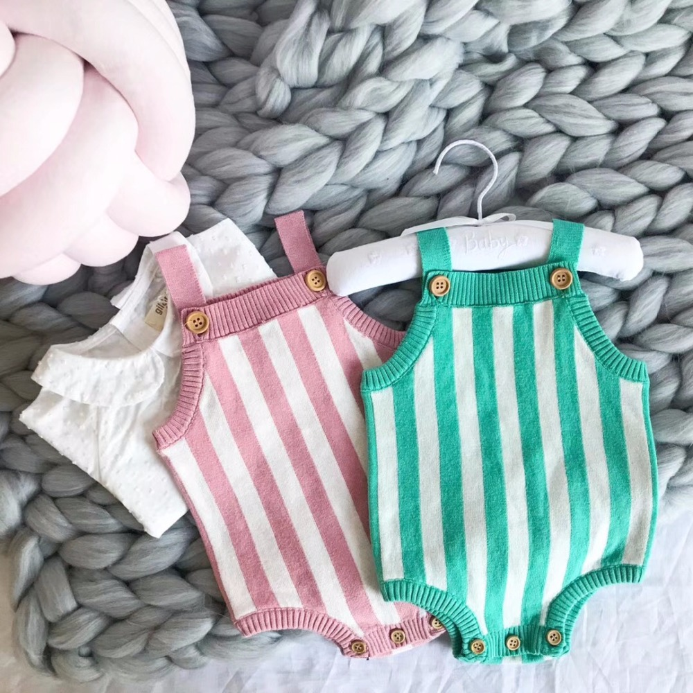 Baby Knitted Romper Overall Jumpsuit 100% Cotton Striped Pattern Newborn Baby Girls Clothes