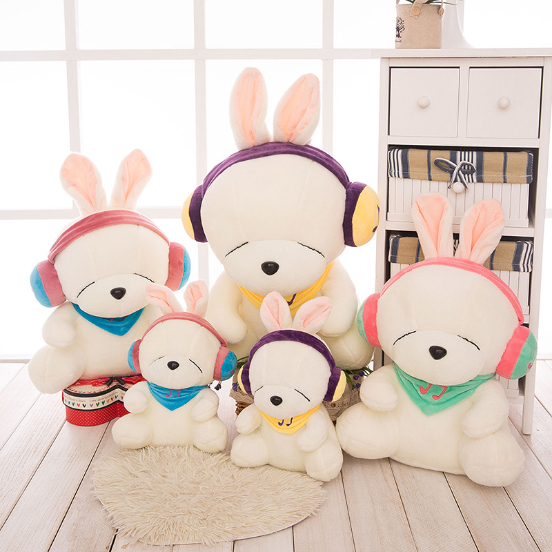 Kärlek lyssnar på musik rascal kanin plysch leksak docka storstora dockor dockor kudde rascal kanin att skicka sin flickvän