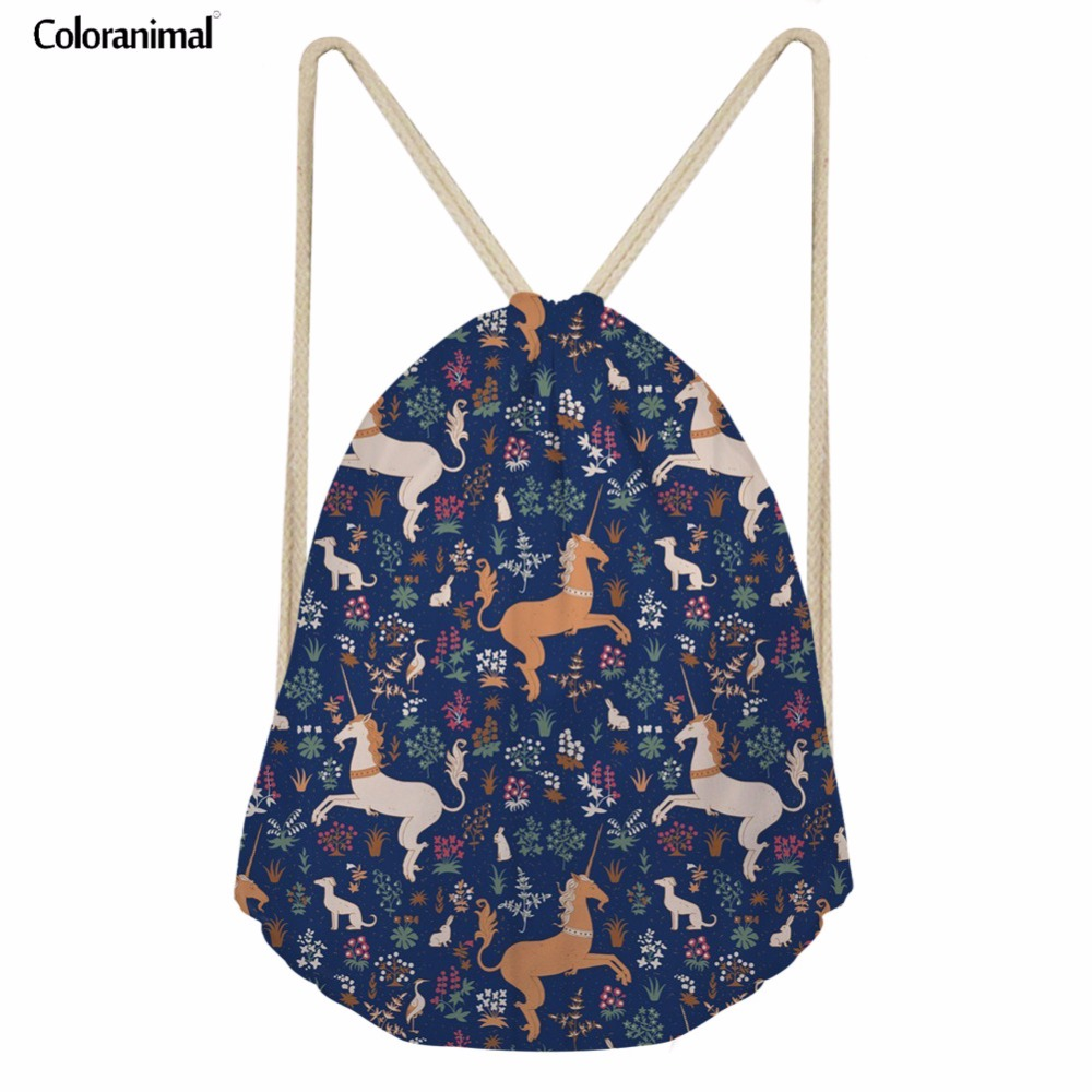 Coloranimal Horse Drawstring Bags Children Kids Teenager Girl Mochilas Backpack School Bags 3D Cute Animal Design Storage Bags