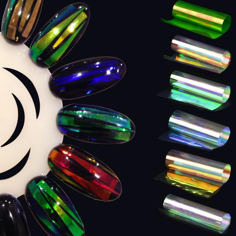 6 Pieces Nail Art Sticker Broken Glass Piece 3D Mirror Effect Foil Candy  Tips Stencil Decal