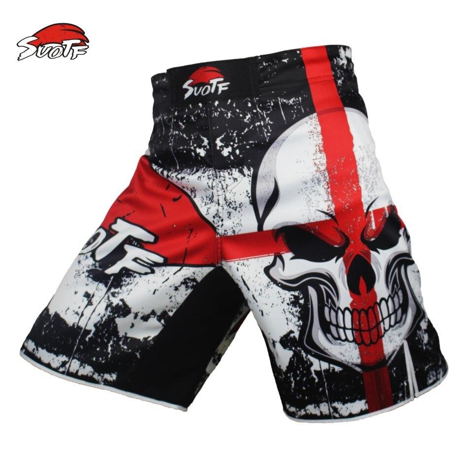 Prix pour SUOTF MMA noir de boxe crâne film coton lâche taille formation kickboxing shorts muay thai shorts pas cher mma shorts boxeo