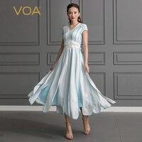 VOA Heavy Silk Party Dresses Women Long Dress Plus Size 5XL High Waist V Neck Summer Short Sleeve Slim Jacquard Light Blue A583