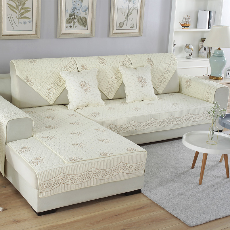 Quilted Embroidery Sectional Sofa Couch Slipcovers Furniture Protector Cotton Rattan Corner Replacement Cushions Double Side Plaid Covers Cushion Towel Fundas Para Sillones