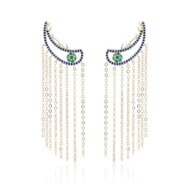 XIUMEIYIZU Fashion Unique Party Jewelry Blue CZ Evil Eye Ear Wrap Climber Cuff Clip with Long Tassel Earrings